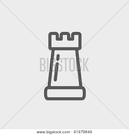 Chess rook icon thin line for web and mobile, modern minimalistic flat design. Vector dark grey icon on light grey background.