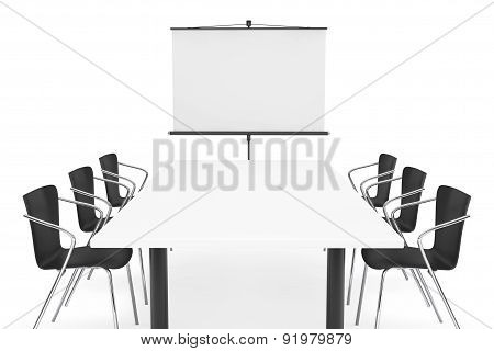 Projection Screen, Table And Chairs