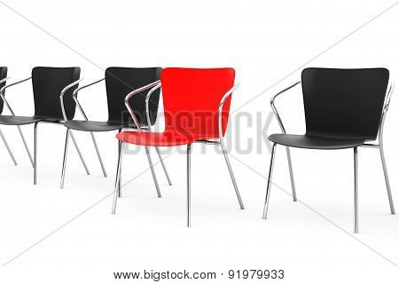 Business Large Meeting. Boss Chair Between Other Chairs. 3D Rendering