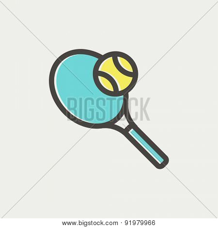 Tennis racket and ball icon thin line for web and mobile, modern minimalistic flat design. Vector icon with dark grey outline and offset colour on light grey background.