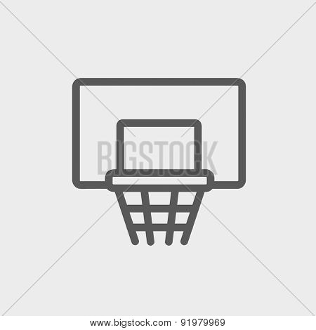 Basketball hoop icon thin line for web and mobile, modern minimalistic flat design. Vector dark grey icon on light grey background.