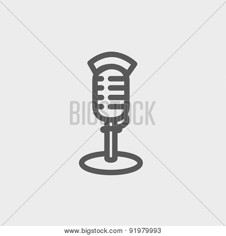 On air microphone icon thin line for web and mobile, modern minimalistic flat design. Vector dark grey icon on light grey background.