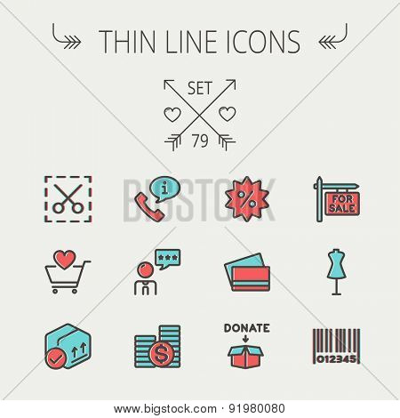 Business shopping thin line icon set for web and mobile. Set includes - stack of coins, cart with heart, box with validation, credit cards, donation box, mannequin, barcode icons. Modern minimalistic