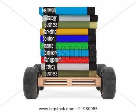 Stack Of Books With Car Wheels