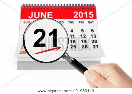 Father's Day Concept. 21 June 2015 Calendar With Magnifier
