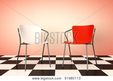 Red And White Chairs 3D Rendering