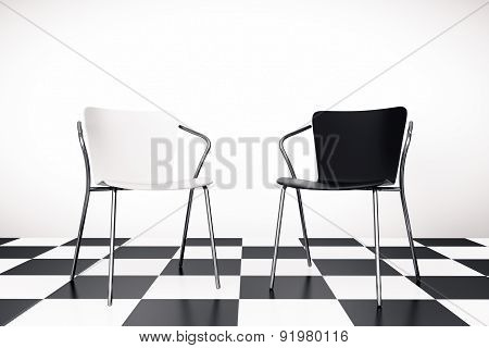 Black And White Chairs 3D Rendering