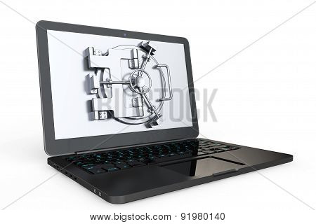 Internet Secure Concept. Laptop With Vault Door