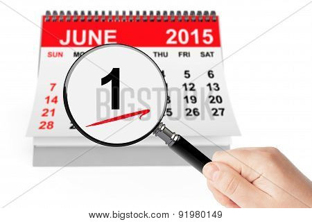Summer Concept. 1 June 2015 Calendar With Magnifier