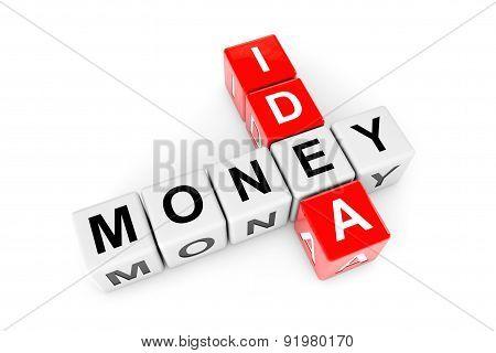 Idea To Money Concept. Idea And Money Crossword Cubes
