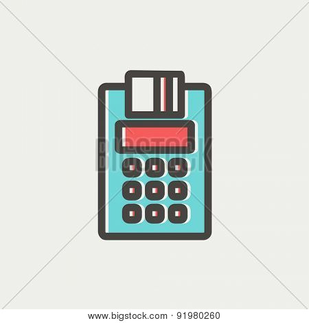 Credit Card Machine icon thin line for web and mobile, modern minimalistic flat design. Vector icon with dark grey outline and offset colour on light grey background.