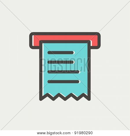 Paper towel with roller icon thin line for web and mobile, modern minimalistic flat design. Vector icon with dark grey outline and offset colour on light grey background.