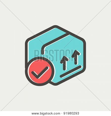 Box with validation icon thin line for web and mobile, modern minimalistic flat design. Vector icon with dark grey outline and offset colour on light grey background.