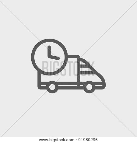 On time delivery icon thin line for web and mobile, modern minimalistic flat design. Vector dark grey icon on light grey background.