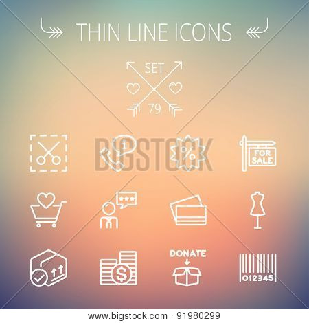 Business shopping thin line icon set for web and mobile. Set includes- stack of coins, cart with heart, box with validation, credit cards, donation box, mannequin, barcode  icons. Modern minimalistic
