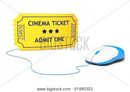 Online Booking Concept. Yellow Cinema Ticket And Computer Mouse