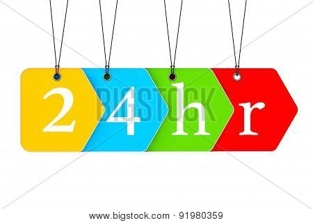 Multicoloured Open Or Service 24 Hours Tags