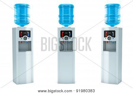 Three Electric Water Coolers With Bottles
