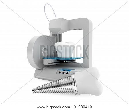 Dental Technology Concept. 3D Printer Printing Tooth Implant