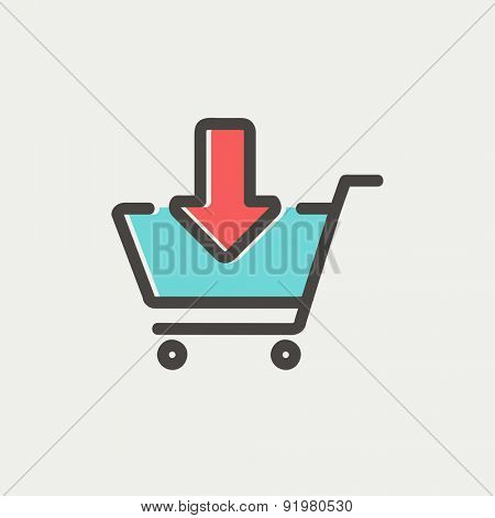 Remove from shopping cart icon thin line for web and mobile, modern minimalistic flat design. Vector icon with dark grey outline and offset colour on light grey background.