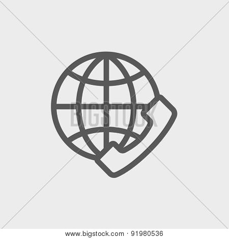 Global internet shopping icon thin line for web and mobile, modern minimalistic flat design. Vector dark grey icon on light grey background.