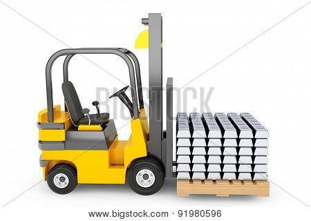 Forklift Truck Moves Silver Bars