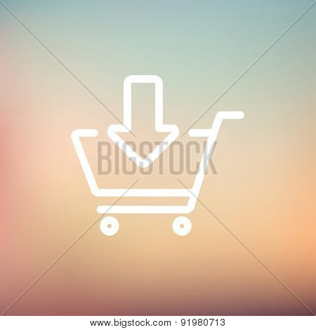 Remove from shopping cart icon thin line for web and mobile, modern minimalistic flat design. Vector white icon on gradient mesh background.