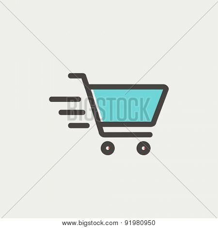 Fast delivery shopping cart icon thin line for web and mobile, modern minimalistic flat design. Vector icon with dark grey outline and offset colour on light grey background.