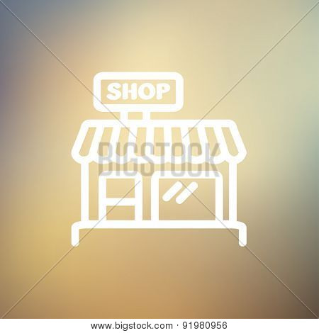 Business shop icon thin line for web and mobile, modern minimalistic flat design. Vector white icon on gradient mesh background.