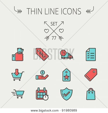 Business shopping thin line icon set for web and mobile. Set includes -  sale tag, calendar with stopwatch, cash on hand, fast delivery, checklist, empty tag, shopping bag icons. Modern minimalistic