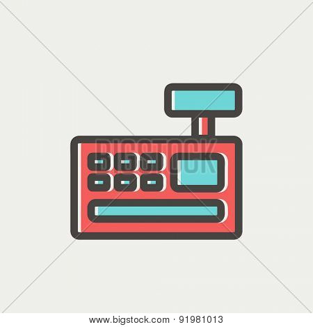 Cash register machine icon thin line for web and mobile, modern minimalistic flat design. Vector icon with dark grey outline and offset colour on light grey background.