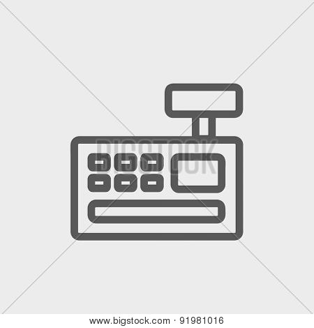 Cash register machine icon thin line for web and mobile, modern minimalistic flat design. Vector dark grey icon on light grey background.