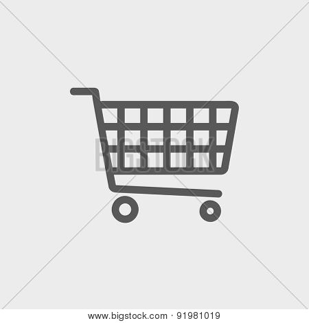 Shopping cart icon thin line for web and mobile, modern minimalistic flat design. Vector dark grey icon on light grey background.
