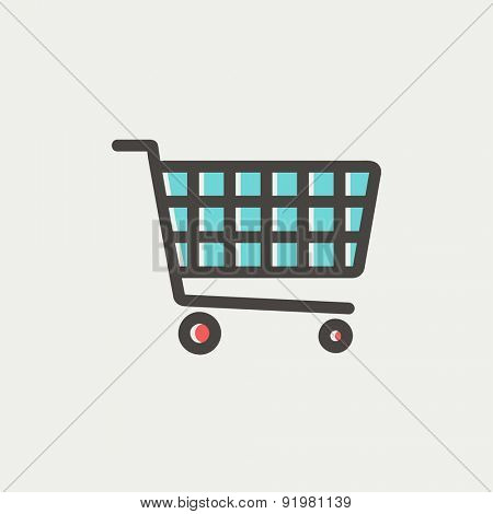 Shopping cart icon thin line for web and mobile, modern minimalistic flat design. Vector icon with dark grey outline and offset colour on light grey background.