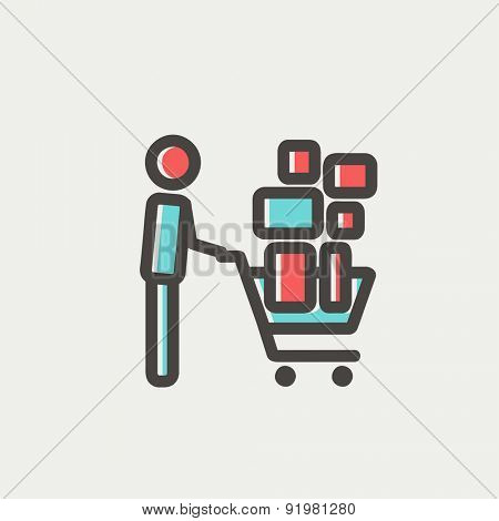 Shopping cart full of shopping bags icon thin line for web and mobile, modern minimalistic flat design. Vector icon with dark grey outline and offset colour on light grey background.