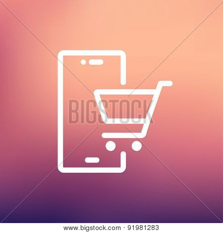 Shopping cart signboard icon thin line for web and mobile, modern minimalistic flat design. Vector white icon on gradient mesh background.