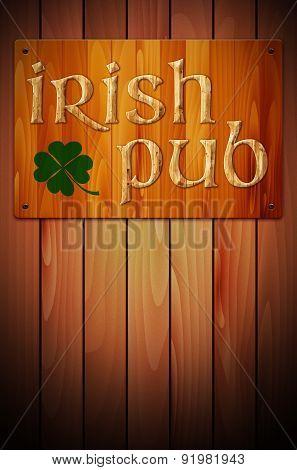 Wooden Sign Irish Pub On Wooden Background