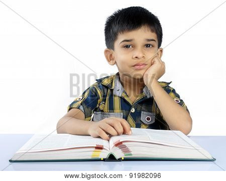 Portrait of  Indian Cute School Boy with Book