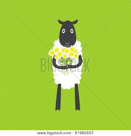 Sheep With Chamomiles