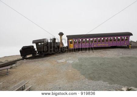 Tourist Train On Mt Washington In A Fall Cloudy Day