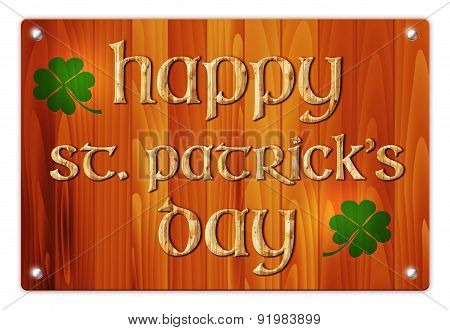 Wooden Background With St. Patricks Day Wish
