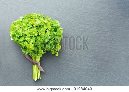 Fresh Curled Parsley On A Dark Stone Background