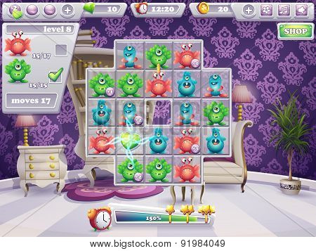 Example Of The Window Playing Field And Interface Computer Game Monsters