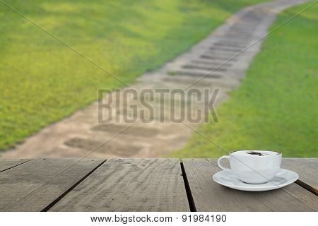 Terrace Wood And Cappuccino Coffee On Grass With Footpath For Ba