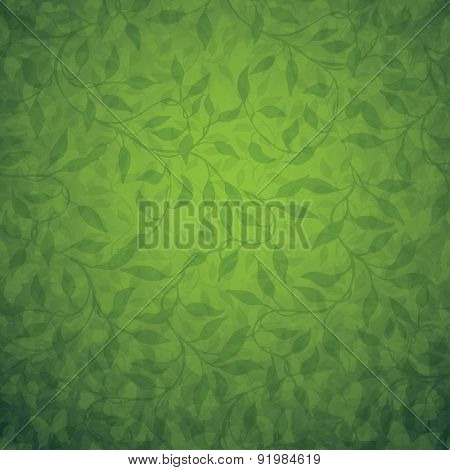Branches with leaves, abstract vector background, can be used as seamless pattern