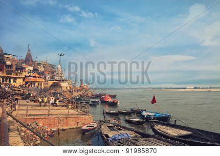 Holy ghat of varanasi, dead city