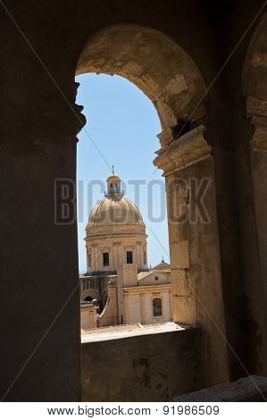 Dome of cathedral in Noto from a bell tower, Sicily