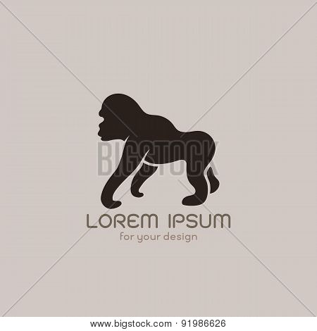 Vector Image Of An Gorilla  Design On Brownish Background