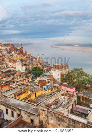 scenic view over Varanasi from the roof