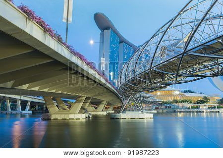 Helix Bridge singapore travel landmark twilight